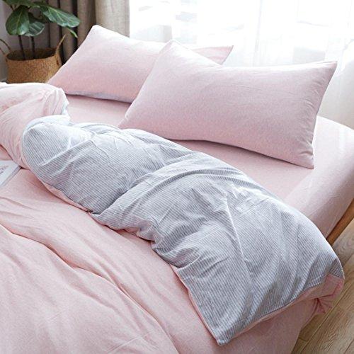 DFGHGXCNBX Stricken Streifen bettwäsche Set solide einfache flachblech Ebene Gefärbt Schlafzimmer Set 4 stücke 1 bettbezug, 1 bettwäsche, 2 Kissenbezug, 007, 200x230cm -