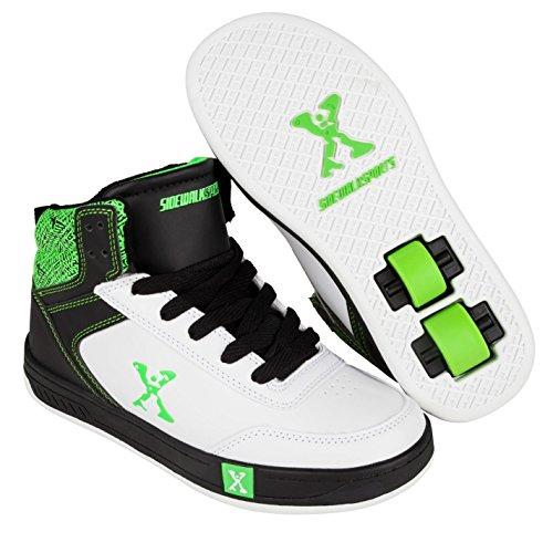Sidewalk Sport Kinder Jungen Hi Top Schuhe Mit Rollen Heelys Rollschuhe White/Blk/Green 2 (34) - Tennis-schuhe Mit Rollen
