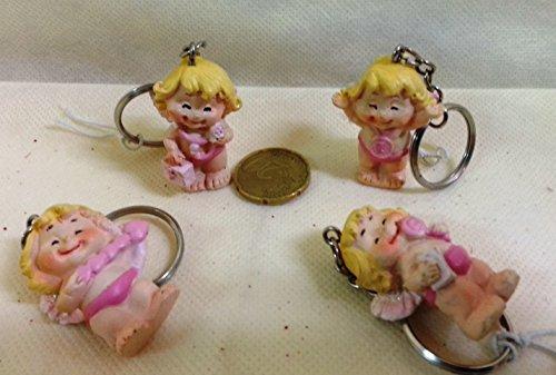 Set 12 pezzi, bomboniera portachiavi angioletti rosa x nascita battesimo. (siir490r)