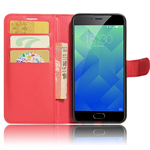 GARITANE Meilan 5/Meizu M5 Hülle Case Brieftasche mit Kartenfächer Handyhülle Schutzhülle Lederhülle Standerfunktion Magnet für Meilan 5/Meizu M5 (rot)