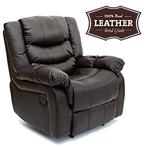SEATTLE LEATHER RECLINER ARMCHAIR SOFA HOME LOUNGE CHAIR RECLINING GAMING (Brown)
