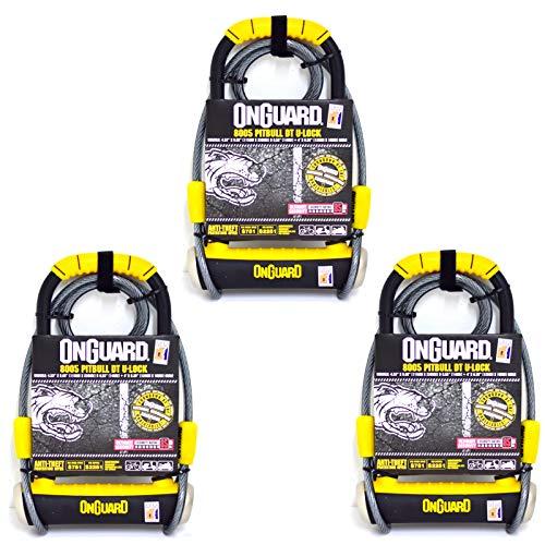 Keyed Lock-set (OnGuard Pitbull DT 8005 Bike U Locks with Cable - Sold Secure Gold (Set of 3))