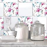 HyFanStr Abziehen und Aufkleben Wand Fliesen Art Aufkleber Duett Küche Home Decor–10Aufkleber 20,3x 20,3cm Flower1