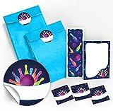 12 Geschenktüten / hellblau + 12 Aufkleber + 12 Lesezeichen + 12 Mini-Notizblöcke Bowling neon / Mitgebsel Gastgeschenk für Kinder Jungen Mädchen beim Kindergeburtstag Geburtstag