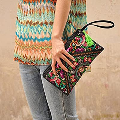 Tinksky Vintage Women Ethnic Purse Wallet Pouch Butterfly Flower Phone Bag