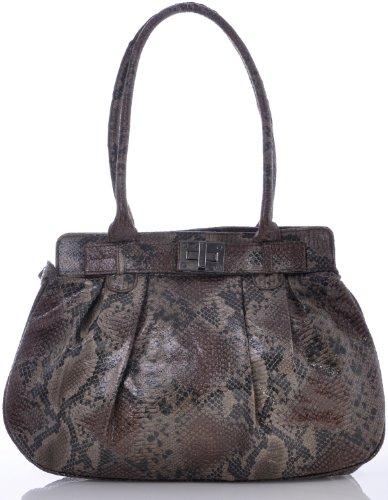 ARA Bags ara Damen Handtaschen Henkeltaschen Schultertaschen Shopper Taschen Animalprint Python Braun Schwarz 37x28x12 cm (B x H x T) (Herren Python-leder)