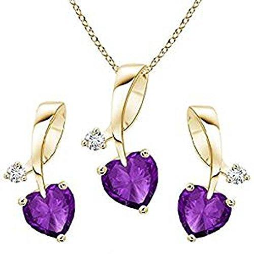 Lilu gioielli splendidamente in argento Sterling 925placcato oro 14K con pendente a forma di cuore ametista e orecchini set