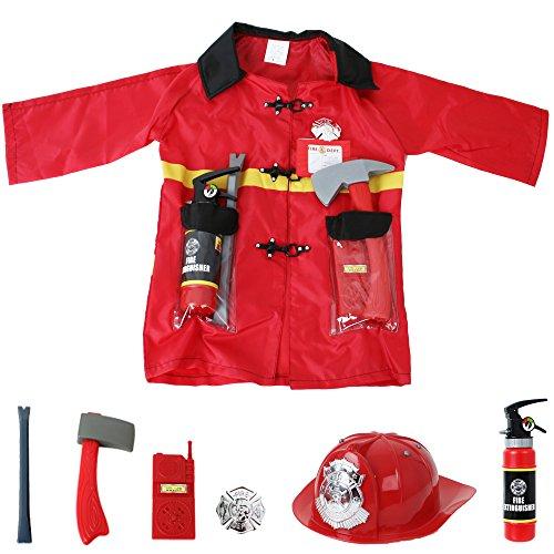 feuerwehrhelm spielzeug Feuerwehr Einsatzjacke Ausrüstung 8-teilig Kleinkind Kostüm Fasching Accessories