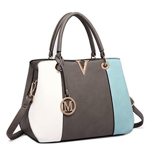Miss LuLu Handtasche Damen PU-Leder Tasche V-Form 3-Farbe-Verbindung Shopper Handtasche Elegant Groß LT1701-Blau
