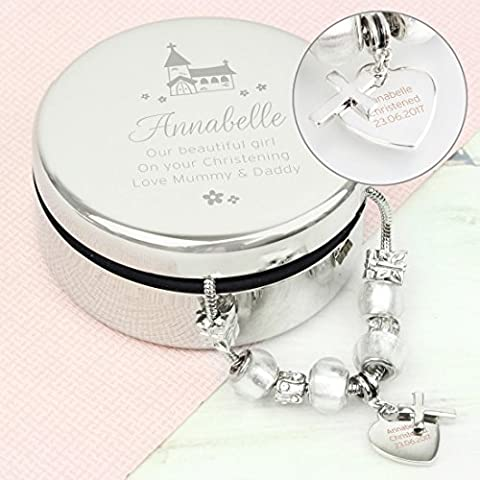 Personalised Whimsical Church Round Trinket Box & Ice White Cross