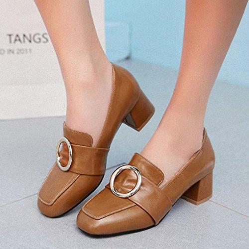 Marrom Grandes Couro Pequenos Moda Estaleiros Feminina Cabeça Sapatos Quadrada Sapatos Selvagem De Solteiras Mulheres Com Grossas Retro Britânico r1HcWprq