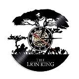 LZXSGZ Orologio da Parete Lion King Orologio da Parete in Vinile Orologio da Parete Design in 3D Decorazione Retro da Camera Familiare Decorazione Regalo, Diametro 30 Cm