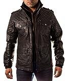 Herren schwarz Echtes Leder gesteppte dŸnne lange Safari-Jacke - 5