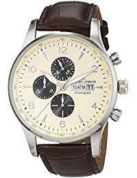 Jacques Lemans Herren-Armbanduhr Classic London Chronograph Quarz Leder 1-1844C