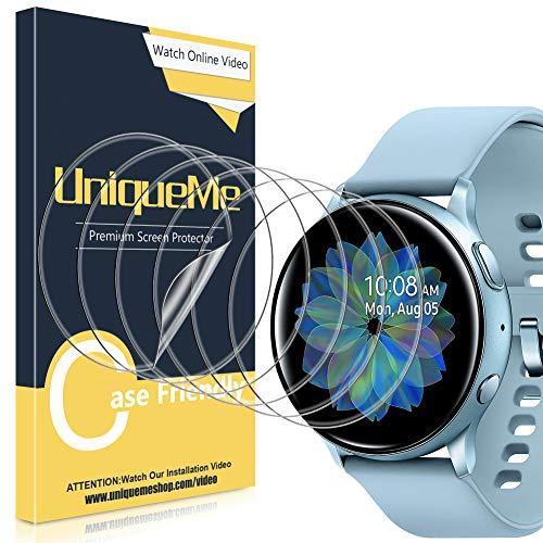 UniqueMe [6 Pièces] Protection écran pour Sumsung Galaxy Watch Active 2 44mm,[Case Friendly] Soft HD Clear TPU Film, Anti-Rayures avec Garantie de Remplacement à Vie