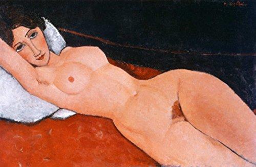 Amedeo Modigliani Kunstdruck (Kunstdruck/Poster: Amedeo Modigliani Liegender Frauenakt auf weißem Kissen - hochwertiger Druck, Bild, Kunstposter, 100x65 cm)