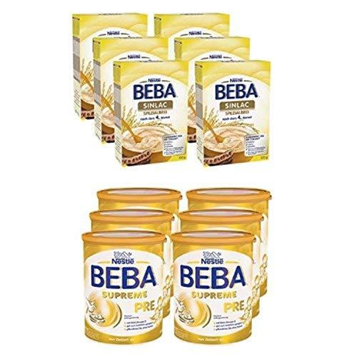 Soja-babynahrung (Nestlé BEBA Sinlac Allergenarmer Spezialbrei, 6er Pack (6 x 500g) + SUPREME Pre Babymilch: von Geburt an, leicht verträgliche Säuglingsnahrung)