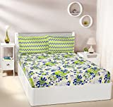 #10: Amazon Brand - Solimo Floral Breeze 144 TC 100% Cotton Double Bedsheet with 2 Pillow Covers, Green