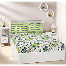 Amazon Brand - Solimo Floral Breeze 144 TC 100% Cotton Double Bedsheet with 2 Pillow Covers, Green
