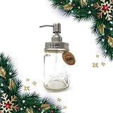 Rostbeständiger Seifenspender mit Glas von Smith's Mason Jars perfekt für die Küche oder das Badezimmer, ein tolles Geschenk Metallic and Clear