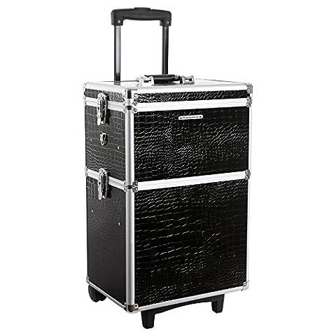 Songmics® alukoffer trolley Kosmetikkoffer größe XL 2 in 1 croco schwarz JHZ03B