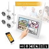 HaWoTEC 9' Touchscreen HD Funk Überwachungssystem Digital Kamera Videoüberwachung mit Monitor und Lautsprecher inkl. 500GB Festplatte 1 HD Funkkamera IR Nachtsicht H.264 mit Mikrofon