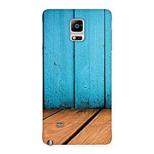 Stylish Wood Cyan Back Case Cover for Galaxy Note 4