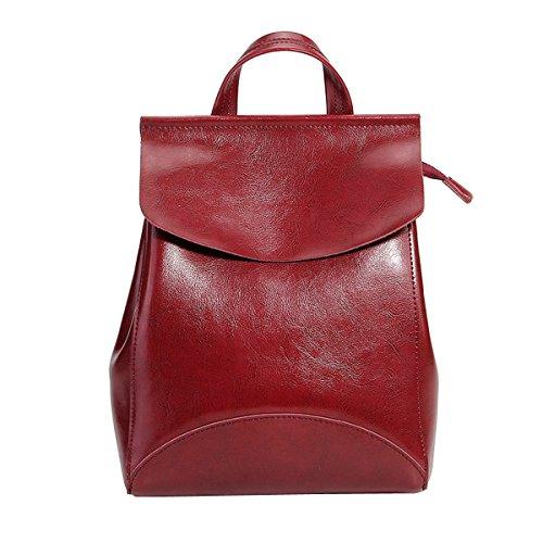 DISSA LF-8963 Damen Weinrot Leder Handtaschen Elegantes Design Rucksackhandtaschen,23x10x30cm(LxBxH)