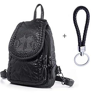 Hengwin Mini Mochila Tipo de Cuero para Mujer Niñas Mochilas Bolso Casual Pequeña (Negro) + Llavero de Piel