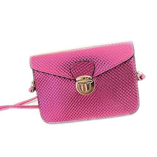 DELEY Damen Sperre Buckle Design Envelope Clutch Handtasche Umhängetasche Rosa