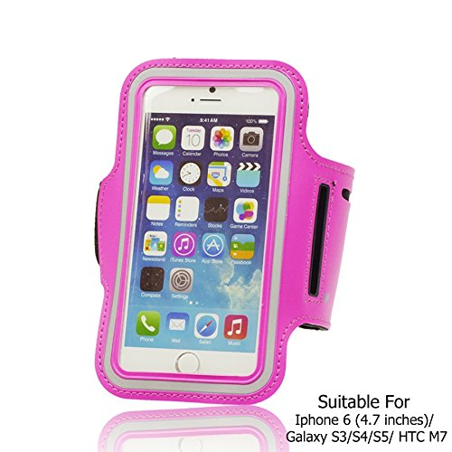 OBiDi - Sports Running Jogging Gym Armband Case Holder / Housse pour Apple iPhone 6 / 6S (4.7 inch)Smartphone - Blanc Hot Pink