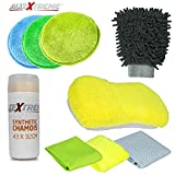 #7: AllExtreme AEFLD10 Premium Car Cleaning Kit Wash Set for Interior and Exterior with Microfibre Cloth, Polishing Pads, Wash Glove, Sponge and Synthetic Chamois (9 Pcs)