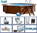 Interline 50700230 Bali Auf-und Erdeinbau Holzwand Rund Pool 6,55m x 1,36m, Sandfilter 9m³/h
