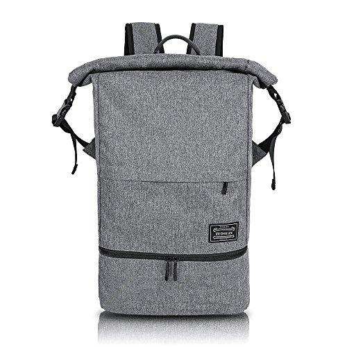 Rucksack Wasserdichte Sporttasche Roll Top Nasse und Trockene Trennung Training Bag Multifunktional Daypack Outdoor für 15.6 Zoll Laptop und Schuhe für Damen und Herren (Grau)