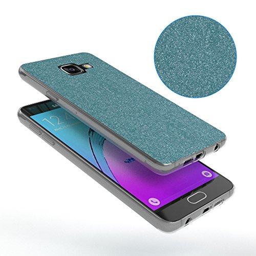 Samsung Galaxy A3 (2016) Hülle - EAZY CASE Handyhülle - Ultra Slim Glitzer Schutzhülle aus Silikon in Anthrazit Glitzer Hellblau