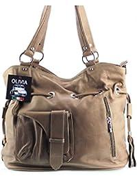 Olivia - Sac en cuir marron/taupe OLIVIA N1369 / Sac etudiante Cuir de vachette LIVRAISON GRATUITE / Handbag Leather