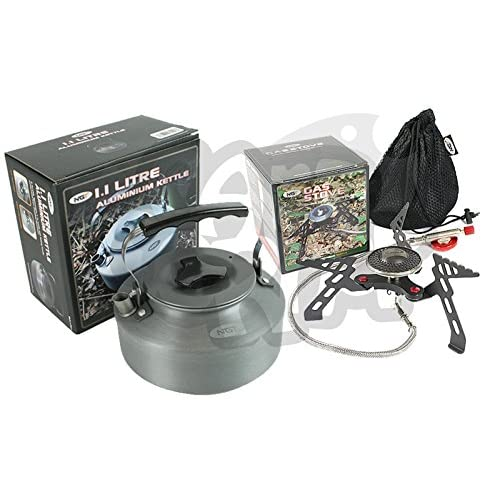 51UO32cPPJL. SS500  - NGT Camping And Sea Carp Fishing Portable Stove Gas Stove 3000W & 1.1L Kettle