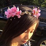 Haarband Blumen Kranz Blüten geflochten Haarschmuck Stirnband Haarreif Tiara - Rosa -