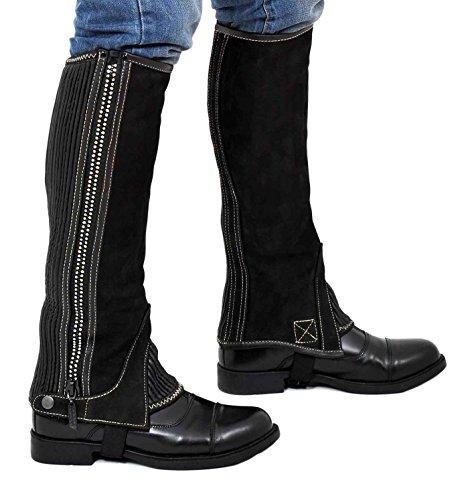 Riders Trend Girl'Nubuk halbhoch Diamontte Kristall mit Reißverschluss schwarz - schwarz