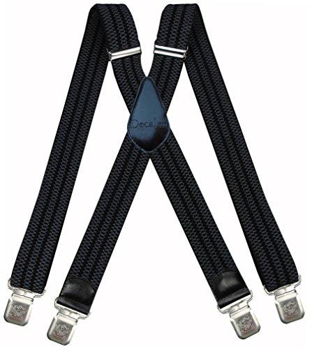 Decalen Hosenträger für Herren breit extra starken 4 cm mit 4er Clips X-Form Lange für Männer und Damen Hose (Grau Schwarz)