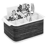 mDesign Portaposate da tavolo – Contenitore posate decorativo per cucina, sala da pranzo, giardino e picnic – Porta posate plastica con 5 scomparti – bianco/grigio scuro