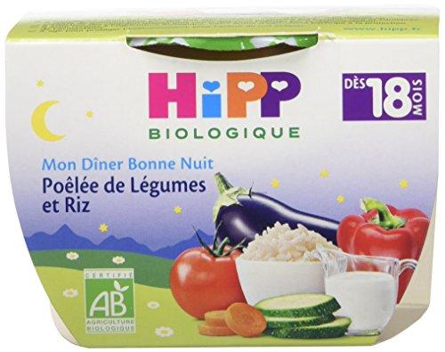 Hipp Biologique Mon Dîner Bonne Nuit Poêlée de Légumes et Riz dès 18 mois - 8 bols de 250 g