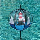 Kugel Windspiel - Satorn 28 Roter Sand - UV-beständig und wetterfest - Kugel: Ø28cm, Gesamthöhe: 100cm - inkl. Standstab und Bodendübel (Roter Sand)