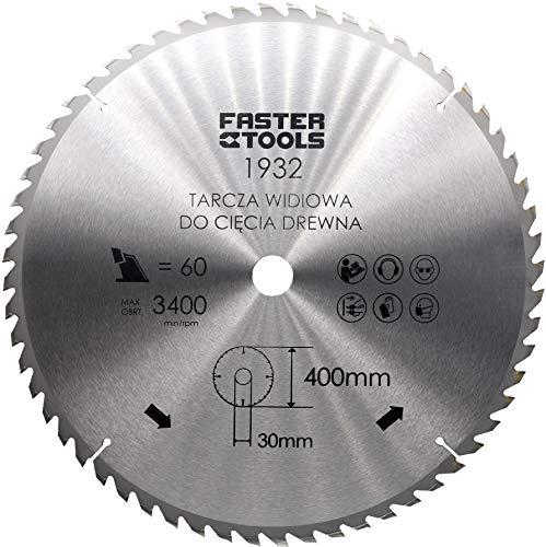 HM-Kreissägeblatt für Holz 400 x 30 mm mit 60 Zähne Nagelfest zum schneiden von Bauholz, Leimholz Brennholz mit Kreissäge Wippsäge Kappsäge und Tischkreissäge