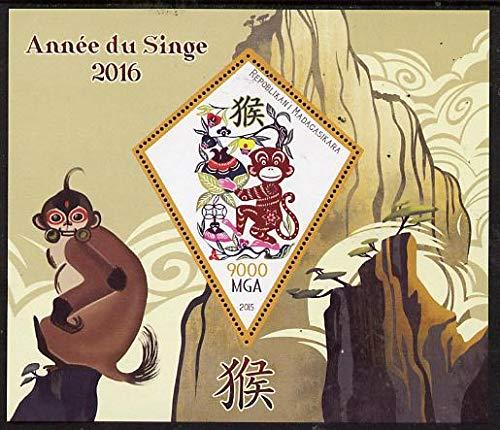 Madagascar 2015 Chinese New Year - Year of the Monkey #1 perf dlx sht one diamond shaped value u/m LUNAR MONKEYS APES SHAPED DIAMOND JandRStamps
