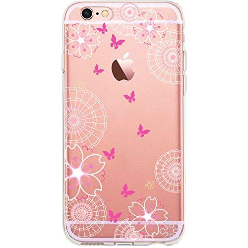 GIRLSCASES® | iPhone 6-6S Hülle | Im Fee Motiv Muster | in schwarz | Fashion Case transparente Schutzhülle aus Silikon Schmetterlinge 1