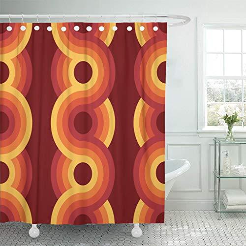 Luancrop Duschvorhang Muster geometrische Vintage 1970er Jahre Retro 1960er Jahre Groovy Bauhaus wasserdichtes Polyester-Stoff-Set mit Haken