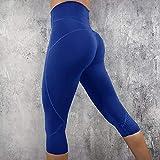 TianWlio Leggings Damen Frauen Mode Feste Gamaschen Der Hohen Taille die Sport Turnhallen Yoga Athletische Hosen Laufen Lassen Blau XL