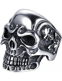 JewelryWe Anillo de Acero Inoxidable para Hombre, diseño de Calavera, Varias Tallas, con Bolsa de Regalo, Color Plateado y Negro
