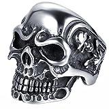 JewelryWe Anillo de la joyería del gótico del cráneo de acero inoxidable de la mujer del hombre, color plata negro (con bolsa de regalo)